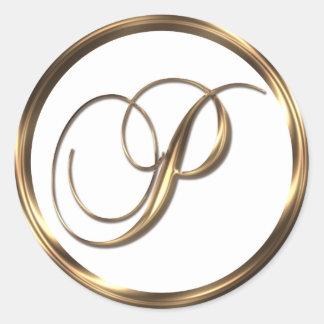 Falso bronce del monograma P Pegatina Redonda
