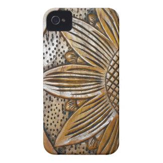 Falso caso de madera 4S del iPhone 4 del girasol iPhone 4 Case-Mate Fundas