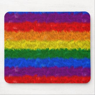 Falso cojín de ratón peludo del arco iris mouse pads
