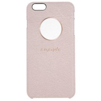 Falso color de rosa rosado del oro texturizado funda clear para iPhone 6 plus