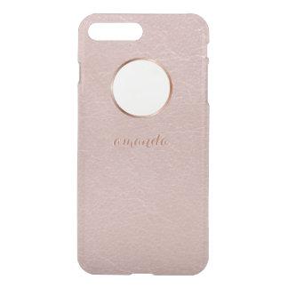 Falso color de rosa rosado del oro texturizado fundas para iPhone 7 plus