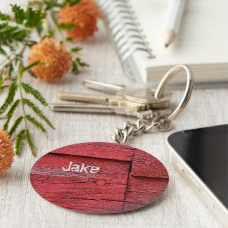 Falso con monograma de madera del granero rojo llaveros personalizados
