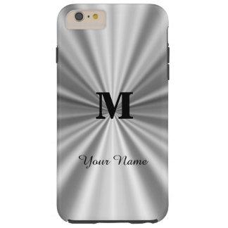 Falso con monograma metálico de plata funda de iPhone 6 plus tough