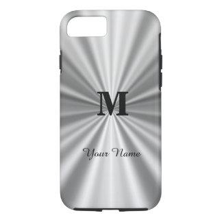 Falso con monograma metálico de plata funda iPhone 7