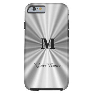 Falso con monograma metálico de plata funda resistente iPhone 6
