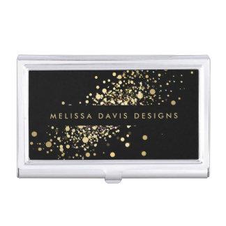 Falso confeti del oro en la caja de tarjeta caja de tarjetas de presentación