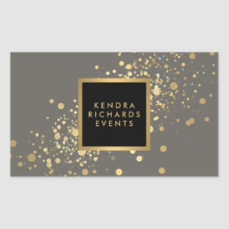 Falso confeti del oro en los pegatinas grises pegatina rectangular