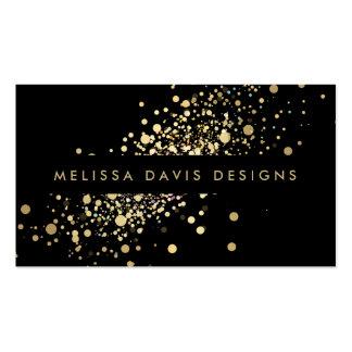 Falso confeti del oro en tarjeta de visita moderna