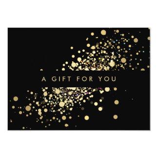 """Falso confeti del oro en vale negro invitación 4.5"""" x 6.25"""""""