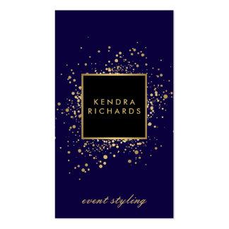 Falso confeti dispersado del oro en azul moderno tarjetas de visita