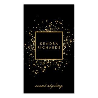 Falso confeti dispersado del oro en negro moderno tarjetas de visita