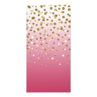Falso confeti femenino moderno bonito del brillo tarjetas fotograficas personalizadas