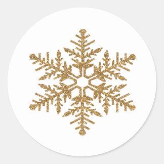 Falso copo de nieve del brillo del oro pegatina redonda