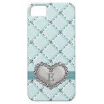 Falso corazón acolchado del diamante artificial de iPhone 5 Case-Mate cárcasa