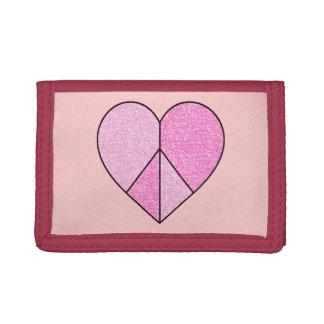Falso corazón rosado del signo de la paz del brill