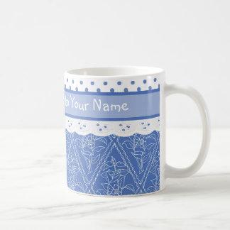 Falso cordón de los lunares azules de encargo de taza clásica
