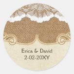 FALSO cordón y arpillera, casando los sellos Etiqueta