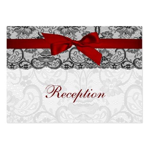 Falso cordón y cinta rojos, tarjetas negras de la tarjeta personal