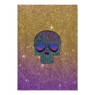 """Falso cráneo de moda femenino del brillo invitación 3.5"""" x 5"""""""