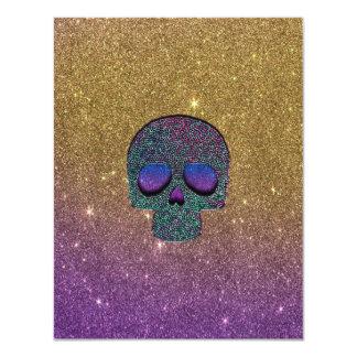 """Falso cráneo de moda femenino del brillo invitación 4.25"""" x 5.5"""""""
