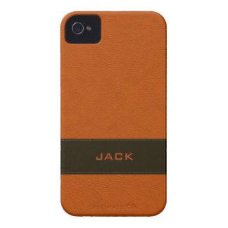 Falso cuero anaranjado personalizado Case-Mate iPhone 4 carcasa