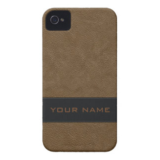 Falso cuero marrón claro personalizado iPhone 4 Case-Mate fundas