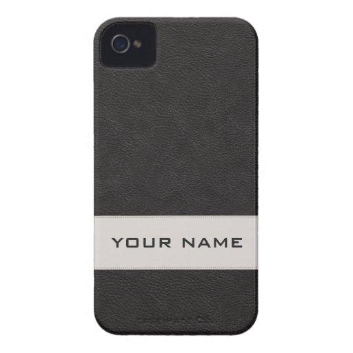 Falso cuero negro personalizado iPhone 4 Case-Mate cárcasa