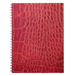 Falso cuero rojo del cocodrilo libreta