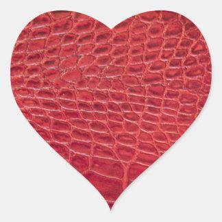 Falso cuero rojo del cocodrilo pegatina en forma de corazón