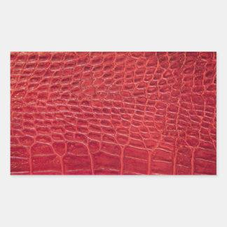 Falso cuero rojo del cocodrilo pegatina rectangular