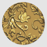 Falso damasco metálico grabado en relieve, oro etiqueta redonda