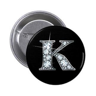 """Falso de """"botón Bling del diamante"""" de """"K"""" Pin Redondo 5 Cm"""