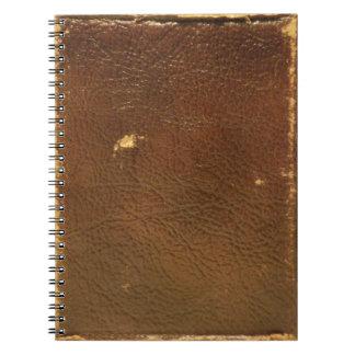 Falso de cuero de Brown del vintage Libro De Apuntes Con Espiral