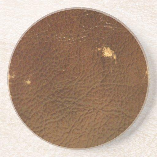Falso de cuero de Brown del vintage Posavasos Manualidades