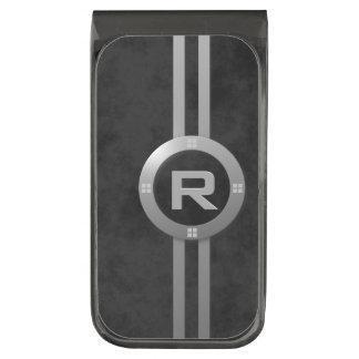 * Falso Deco metálico elegante en negro abigarrado Clip Para Billetes Metalizado