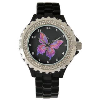 Falso diamante artificial hermoso de la mariposa reloj de mano