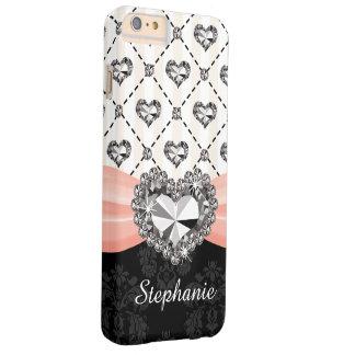 Falso diamante del corazón del arco rosado funda para iPhone 6 plus barely there