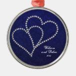 - Falso diamante - ornamento enlazado dos corazone Ornamentos De Navidad