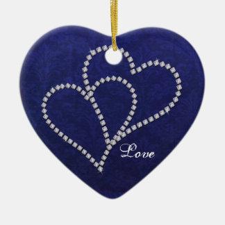 - Falso diamante - ornamento enlazado dos corazone Ornamento De Reyes Magos