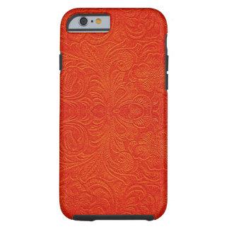 Falso diseño floral Cuero-Grabado en relieve del Funda De iPhone 6 Tough