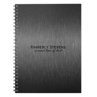Falso diseño gris oscuro metálico simple elegante libros de apuntes