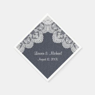Falso dril de algodón y boda del cordón servilletas desechables