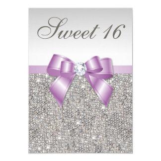 """Falso dulce 16 del arco de la lila de plata de las invitación 5"""" x 7"""""""