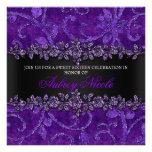 Falso dulce floral púrpura dieciséis del brillo y  anuncio personalizado