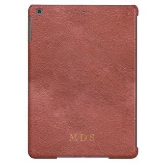 Falso efecto de cuero impreso de color rojo oscuro funda para iPad air
