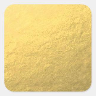 Falso efecto de la hoja de oro impreso pegatina cuadrada