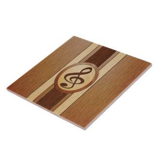 Falso embutido de madera elegante del Clef agudo Azulejo Cuadrado Grande