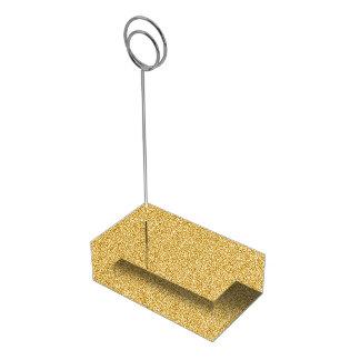 Falso encanto metálico del oro de la hoja soporte para tarjeta de mesa