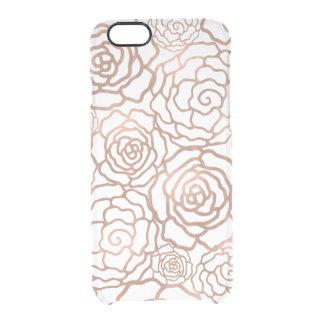 Falso enrejado floral color de rosa de la hoja de funda clear para iPhone 6/6S