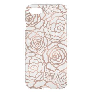 Falso enrejado floral color de rosa de la hoja de funda para iPhone 7